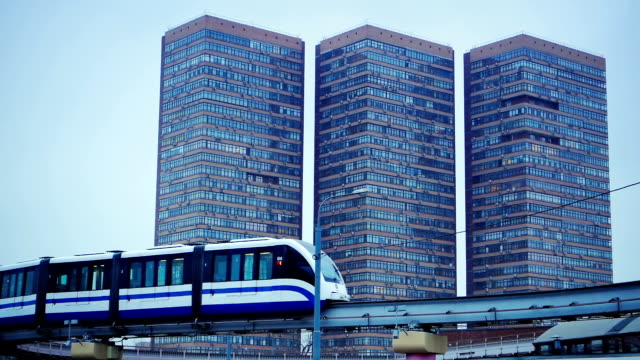 Monorail train passing by in the city