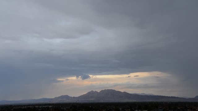 Monsoon rains appear over Sunrise mountain and Frenchman Mountain