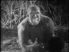 B/W 1925 monster ape-man (Bull Montana) looking at something offscreen + drooling
