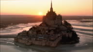 AERIAL, CIRCLING, Mont Saint-Michel at sunset, Normandy, France