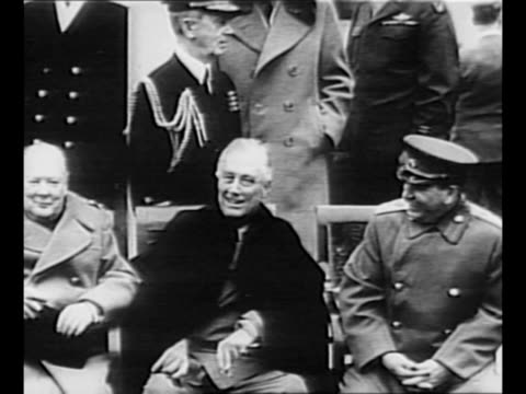 Montage British Prime Minister Winston Churchill US President Franklin Roosevelt and Soviet leader Joseph Stalin sit on chairs in courtyard of...