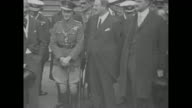 Montage Edward Prince of Wales with New York City Mayor John Francis Hylan during visit to NYC and with NY politician Grover Whalen / Prince salutes...