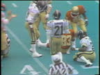 1983 Montage MS WS Football players from various USFL teams tackling each other with hard hits during games / USA