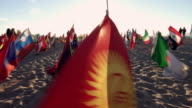 Montage - Many Flag on Venice Beach at Sunset