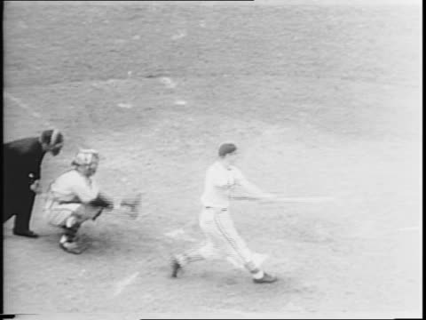 Montage of action from World Series baseball game / featured players include Morty Marion / Ken O'Dea hits and runs bases / Johnny Hopp hits fly ball...