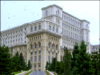 Montage of exteriors of Ceaucescu's Palace world's second biggest building Bucharest