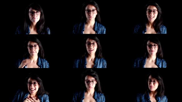 Vielfalt von Gesichtsausdrücken von jungen Erwachsenen Frau
