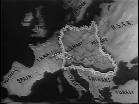 Montage of giant flames at night soldiers in silhouette / A map highlights the shrinking Nazi territory