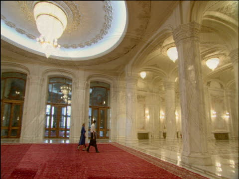 Montage of interiors of Ceaucescu's Palace world's second biggest building Bucharest