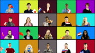 Montage of multiple people waving different flags on Coloured background