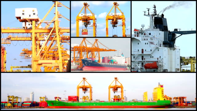 Montage of Port Logistic Freight Background