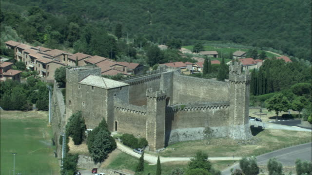 AERIAL, Montalcino Castle and town, Tuscany, Italy