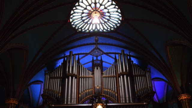 Montreal, Canada: Indoor view of the Notre Dame Cathedral music organ which is opposite to the main altar