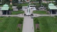 Montreal,Canada: Aerial view of the Saint Joseph Oratory gardens.