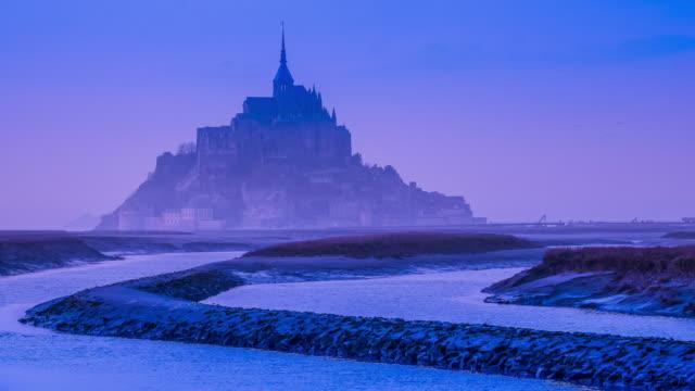 Mont-Saint-Michel at sunset, time lapse