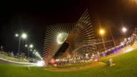 Monument time lapse in the City of Denia at night