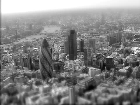 Moody black and white aerial view of London. NTSC, PAL