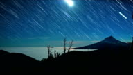 Moon and Fog Over Mt. Hood Abstract Star Trails Night Time Lapse