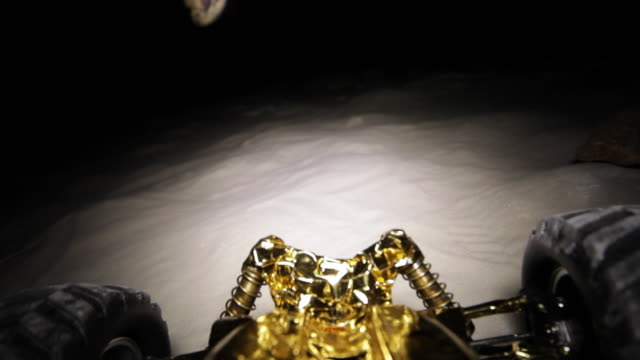 MS POV Moon buggy driving on moon surface / Berlin, Germany