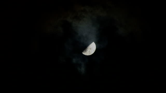 Moon closeup with clouds 1