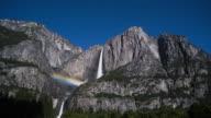 Moonbow and stars at Yosemite Falls, California