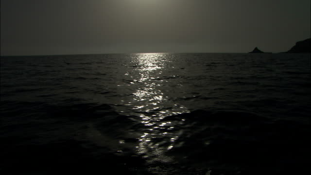 Moonlight reflects on the calm ocean. Available in HD.