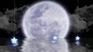 Al chiaro di luna sull'oceano di animazione (loop) HD