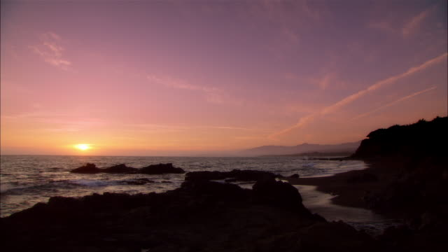 MS, Moonstone Beach at sunset, Cambria, California, USA