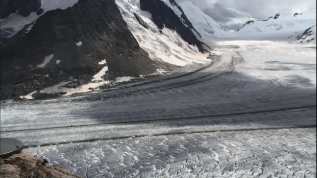 Moraine shows through the ice of the Aletsch Glacier.
