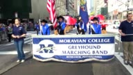 Moravian College march during the Columbus Day Parade on 5th Avenue Midtown Manhattan New York City USA / Moravian College a private liberal arts...