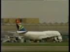 More opposition to plans for sky marshals ITN GENERICS HELD SERVER London Heathrow Airport Virgin Atlantic Airways 747 taxiing PAN LIB LMS South...