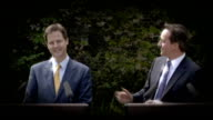 More people to pay top tax rate from April 2011 R12051001 London Downing Street David Cameron MP and Nick Clegg MP giving joint press conference in...