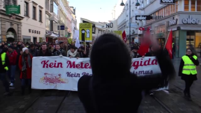 More than 3 thousand 500 people attend an antiPegida protest and prevent the march of 200 Pegida supporters in Linz Austria on 8 February 2015