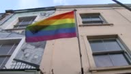 More than a fifth of LGBT people have experience abuse in past year Bristol Low angle shot West Street Rainbow flag Rosa Fanti setup shots and...