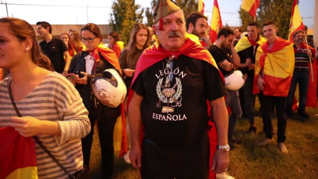 More than hundred people takes part of a demonstration calling for unity in Barcelona on October 28 a day after direct control was imposed on...