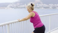 Morning exercising near the sea