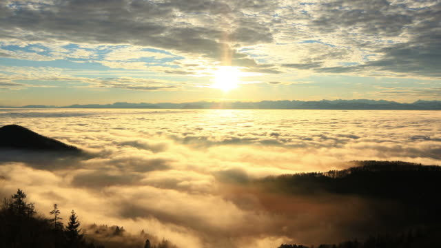 morning light, landscape covered in fog, mountains in background