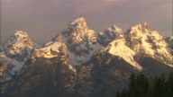 Morning light over Teton mountain range Available in HD.