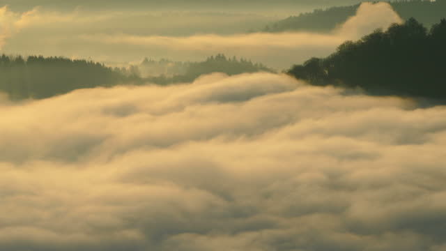 Morning Mist above the Big Loop of Saar River as seen from Cloef Viewpoint, Orscholz near Mettlach, Saarland Germany