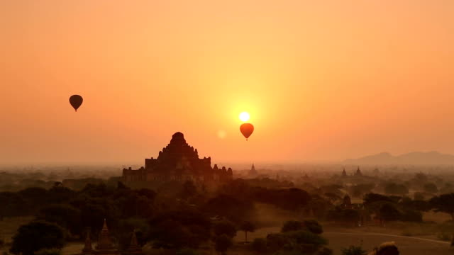 Morning Panorama of Hot Air Balloons in Bagan Myanmar