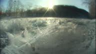 Morning sunlight illuminates frost flowers.