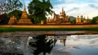 TL TU WS morning time of Sukhothai Historical Park, Mahathat temple reflecting in water