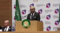 Moroccan King Mohammed VI delivers a speech during the closing session of the 28th Assembly of Heads of State and Government of the African Union at...