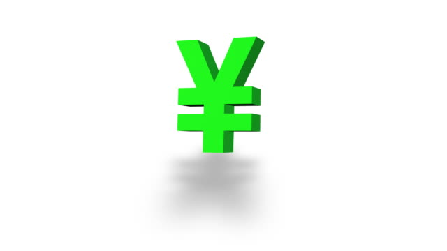 Morphing currency symbols in green on white