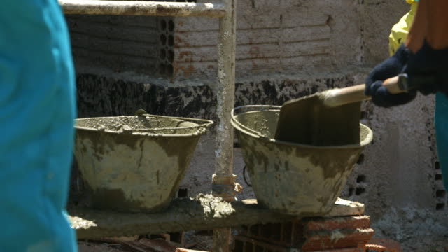 mortar and buckets