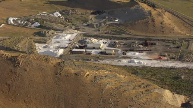 WS AERIAL ZO Morton Salt plant and salt evaporation ponds at Great Salt lake / Utah, United States