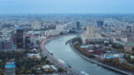 Moscow, elevated view over the Moskva river embankment, Ukraine Hotel and the Russian White House