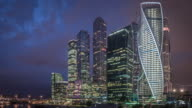 T/L WS PAN Moscow International Business Center at Night / Moscow, Russia