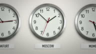 Moscow international time zone wall clock with 12 hour loop