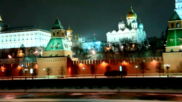 Moscow Kremlin cupolas in the winter night